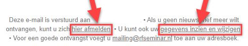Inzien, wijzigen en afmelden van de mailinglijst